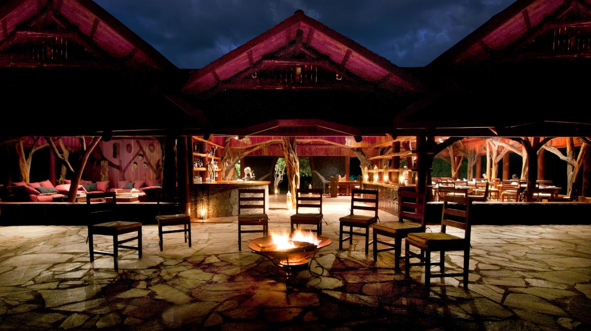 Main lodge with fireplace