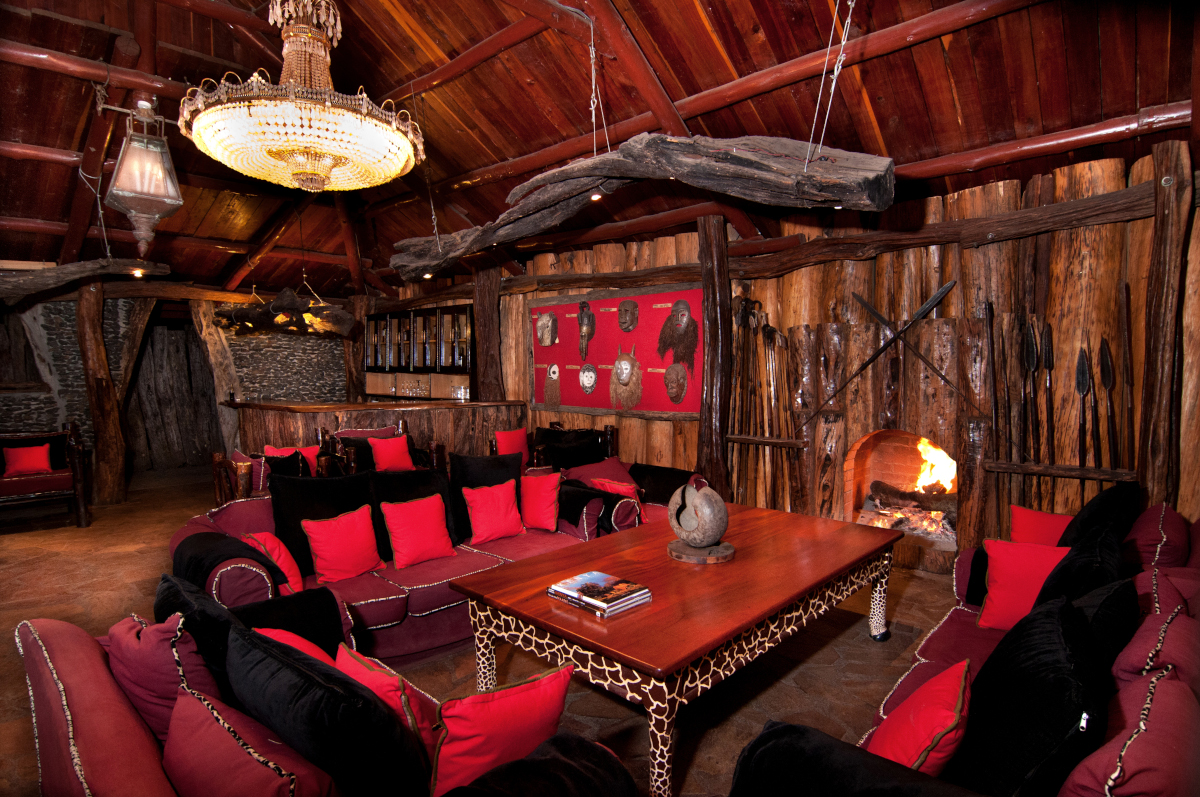 River lodge lounge with fireplace